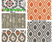 Orange Gray Pillow Covers, Decorative Throw Pillows, Cushion Covers, Grey Orange on Darker Natural,  ONE or More Mix & Match ALL SIZES