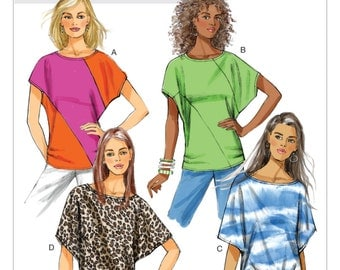 Sz Xsm/Sml/Med - Butterick Top Pattern B5753 - Misses' Loose-Fitting Dolman Sleeve Top in Four Variations - Suitable for Maternity