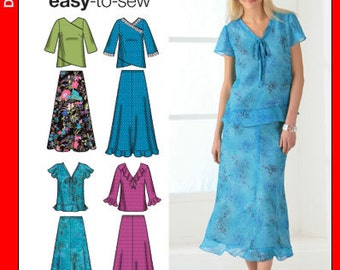 Simplicity Dress Sewing Pattern 4221 - Misses' Skirt in Two Lengths and Pullover Tops - Sz 10/12/14/16/18