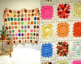 Granny Square Afghan  //  Large Crocheted Blanket  //  THE ZINNIA