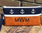 Anchor Vegan Leather Wristlet, Smart Phone Bag, Smart Phone Wristlet, Custom Wristlets, Bridesmaids Gifts,  Phone Bags, Personalized Clutch