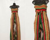 vintage 1970s disco striped bell bottom jumpsuit
