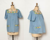vintage 1970s maternity embroidered hippie blouse