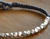 Valentine SALE Beaded chunky faceted fine silver bracelet  on slate gray waxed  linen cord bracelet