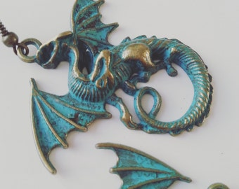 Huge, DRAGON, green teal Bronze, earrings,dragon earrings, by NewelsJewels on etsy