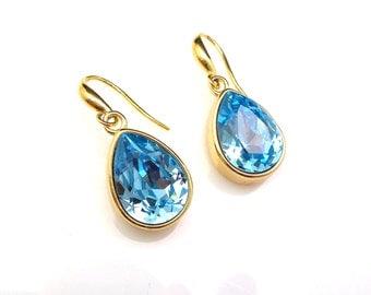 STERLING SILVER teardrop swarovski aquamarine aqua swarovski foiled back crystal rhinestone and gold hook earrings bridal bridesmaid gift