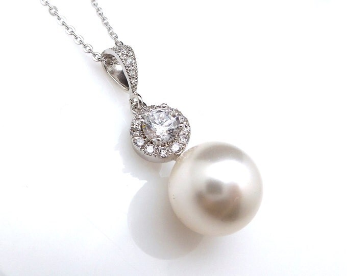 wedding jewelry bridal necklace prom bridesmaid party white or cream 12mm swarovski round pearl drop necklace with sterling silver chain