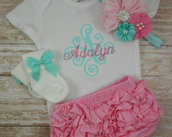Baby girl coming home outfit, newborn, baby girl outfit, baby girl clothes, baby girl take home outfit, monogram, embroidered, aqua, pink