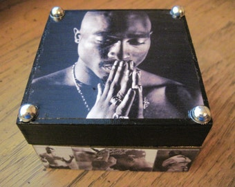 Tupac Shakur Small Hand Crafted Decoupaged Wooden Trinket Keepsake Box