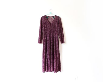 vintage dress 80's purple lace maxi long sleeve romantic 1980's womens clothing size medium m