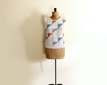 vintage sweater 80s triangle geometric womens clothing sleeveless vest handknit neutral 1980s size large l