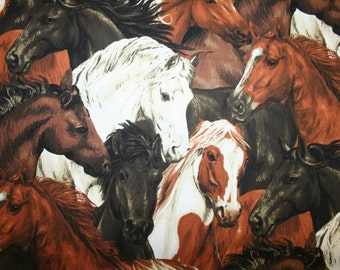 "Stunning HORSE FABRIC! Beautiful Horse heads in a cluster ""Run Free"" Collection"