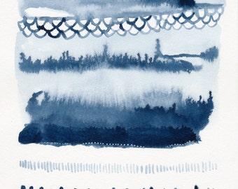 "Beach Series Indigo Waves Original 7""x7"" Contemporary Abstract Watercolor Original Painting"