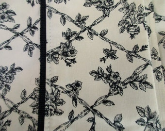 Waverly Garden Room king flat sheet -  cotton, floral, cream, black