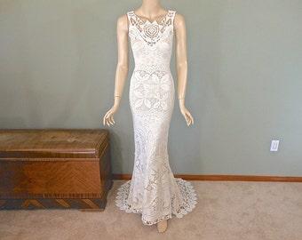Bohemian WEDDING Dress Crochet Ivory LACE Wedding Dress  Hippie Wedding Dress Handmade Wedding Dress S
