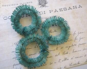 3 miniature sisal wreath - hand dyed vintage AQUA color - vintage inspired