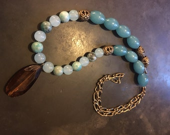 Teal Glass Beaded Necklace with Bronze Accents