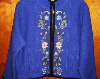 100 % Wool vintage Alpine Jacket-Lined, size medium Womens. Icelandic Design- final sale