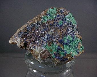 Malachite with Azurite Rock Specimen Colletible Rock Hound Display Blue Green Display Piece 16T78