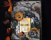 Elegant Halloween boy or girl 8.5x11 chipboard premade scrapbook album