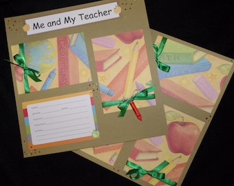 Boy or Girl Me and my Teacher 12x12 premade scrapbook layouts