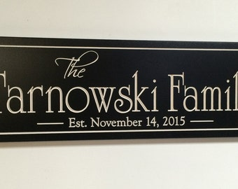 Carved Engraved Family Name Sign Last Name Sign