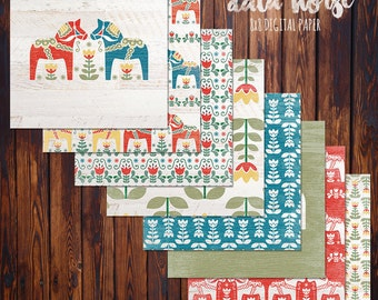 "Dala Horse Digital Scrapbook Paper Pack (8x8""-300 dpi) - 8 Digital papers"