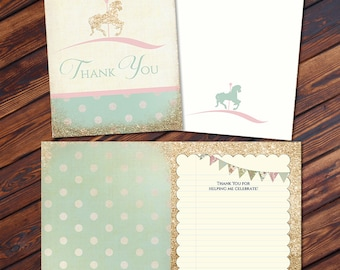 ADD ON: Thank You Card JPEG File -  Cupcakes and Carousels