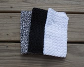 Housewarming Gift, Crochet Dishcloth or Washcloth, Black, White and Overcast Twist Variegated, 100% Cotton Clothes, Eco-friendly, Set of 3