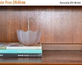 SALE 20% OFF SALE vintage 1950s pink glass umbrella candy dish