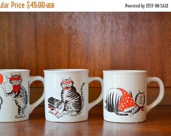 SALE 25% OFF vintage nevco cat mugs
