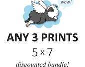 DISCOUNTED SET - you choose any three 5 x 7 prints - cute guinea pig art custom set of 3, listing
