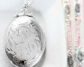 Sterling Silver Locket Necklace, Vintage Birks Oval Photo Pendant on Special Filigree Chain - Timeless Heirloom