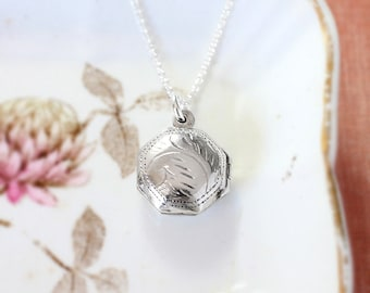 Tiny Sterling Silver Locket Necklace, Puffed Round Octagonal Dainty Photo Pendant - Delicate Detail