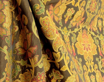 Daciana Walnut Brown Green Red Damask Upholstery Fabric