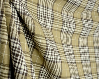 Chocolate Brown & Gold Plaid Fabric