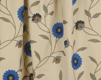 Dewas Breeze Crewel Blue Floral Fabric