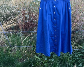 Blue Country Cotton Long 90's Skirt L
