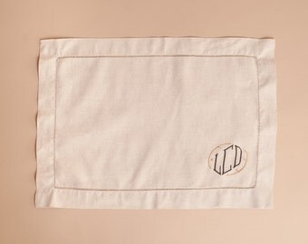 Hemstitched Natural Linen Placemats with Standard Monogram