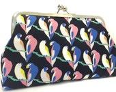 clutch purse - love birds - 8 inch metal frame clutch purse - large purse-  birds - colour - parrot - kisslock purse