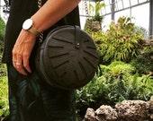 Green Leather bag, Monstera Leaf bag, Forest green, circle bag, Women's Bag, Leather Bag, Leather Purse, Leather Shoulder Bag, Leaf