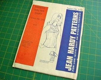 Vintage 70s Jean Hardy Pattern 240 -Womens Halter Shirt Tops for Knit Fabrics -Multi Size -Small Medium Large Uncut