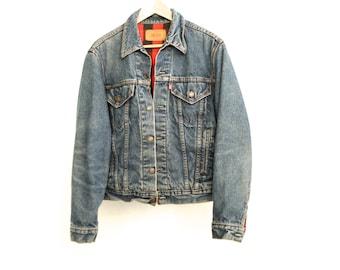 vintage levi's men's small BLUE indigo with FLANNEL lining classic LEVIS denim cotton jacket