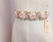 Silk Rose and Crystal Bridal Sash- Blush Bridal Belt- Floral Bridal Sash