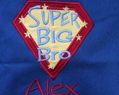 Blue Super Big Bro cotton tote bag, embroidered, Monogrammed at  NO additional charge