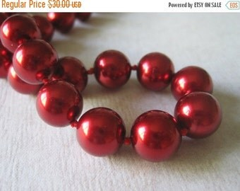 20% OFF ON SALE Red Shell Pearl Hand Knotted Necklace, Gemstone Jewelry