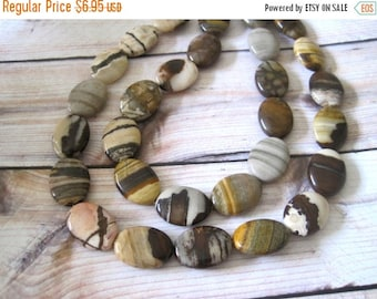 "20% OFF ON SALE Brown Jasper Oval 15mmx20mm Beads, 8"" long, 10 pcs, Gemstone Beads"
