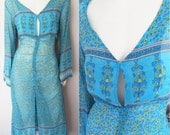 Vtg.70s Turquoise Ethnic Print Chiffon Beacc Cover Up Kaftan Maxi Dress.M.Bust 36-38.Waist up to 36.