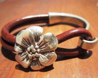 flower bracelet, womens bracelets, silver bracelet, leather bracelet, beaded Bracelets, fashion jewelry, accessories, charm Bracelet