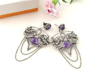 Wire wrapped earring, dangle purple earring, sterling silver jewelry, gemstone jewelry